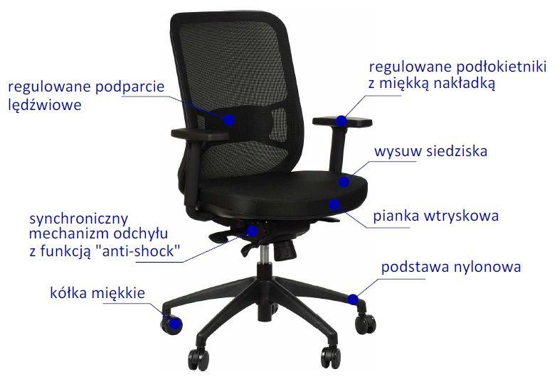 Nowoczesny fotel obrotowy z oparciem siatkowym, wysuwem siedziska