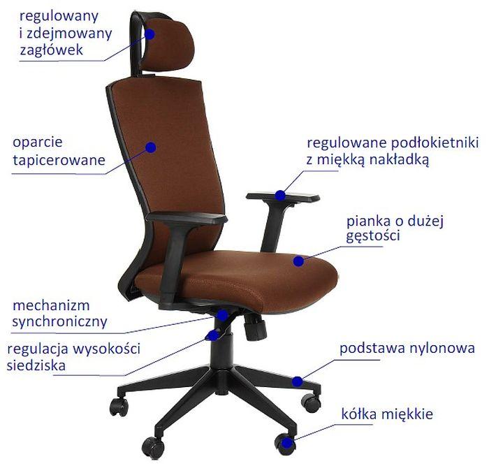 Fotel Biurowy Obrotowy Hg 0004f Brąz Krzesła Obrotowe Fotele I