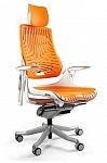 Fotel Obrotowy WAU Elastomer biały/pomarańczowy
