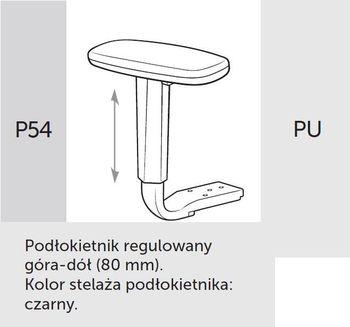 Fotel obrotowy VERIS NET 111 z zagłówkiem - P54 PU czarny
