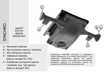 Fotel Biurowy obrotowy XENON NET101 - regulacja podparcia lędźwiowego - synchro SL XENON
