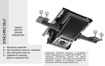 Fotel Biurowy obrotowy XENON NET101 - regulacja podparcia lędźwiowego - synchro ST XENON
