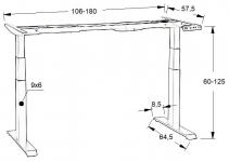 Stelaż elektryczny dwusilnikowy EF-SHB320-D650-F/B czarny